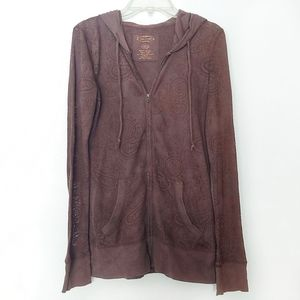 Maurices Brown Paisley Lightweight Zip-Up Jacket